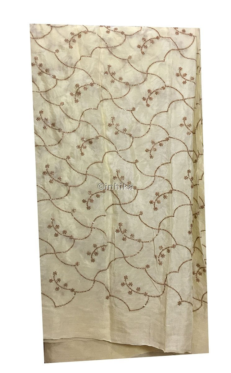 cheap fabric online india ethnic material online shop Embroidery Chiffon Lightest Yellow, Gold 42 inches Wide 9191