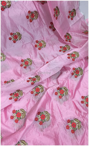 white embroidered material lace material online india Embroidery Cotton Chanderi Baby Pink, Red, Orange, Green, Gold, Pink 42 inches Wide 9186