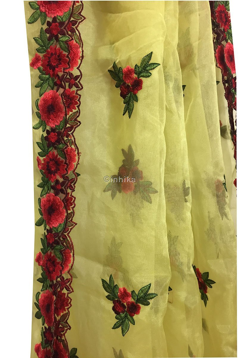 lace material online india buy fabric online cheap india Embroidery Organza / Tissue Yellow, Green, Pink, Red, Maroon 39 inches Wide 9170