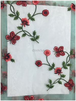 fabric shop online india buy embroidery material online india Organza / Tissue Blue, Red, Pink, Maroon, Green 43 inches Wide 9169