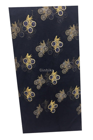 Image of embroidery cloth online dress materials online shopping Embroidery Net, Mesh, Tulle Navy Blue 44 inches Wide 9229
