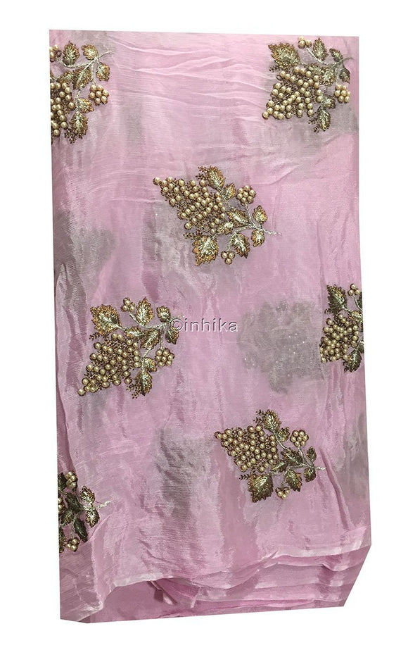 embroidery blouse material online designer blouse material Embroidery Viscose Chinnon Light Pink 44 inches Wide 9211