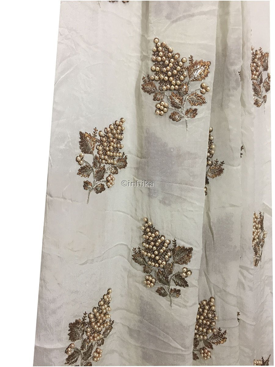 online fabric store india dress material online Embroidery Viscose Chinnon Off White 44 inches Wide 9212