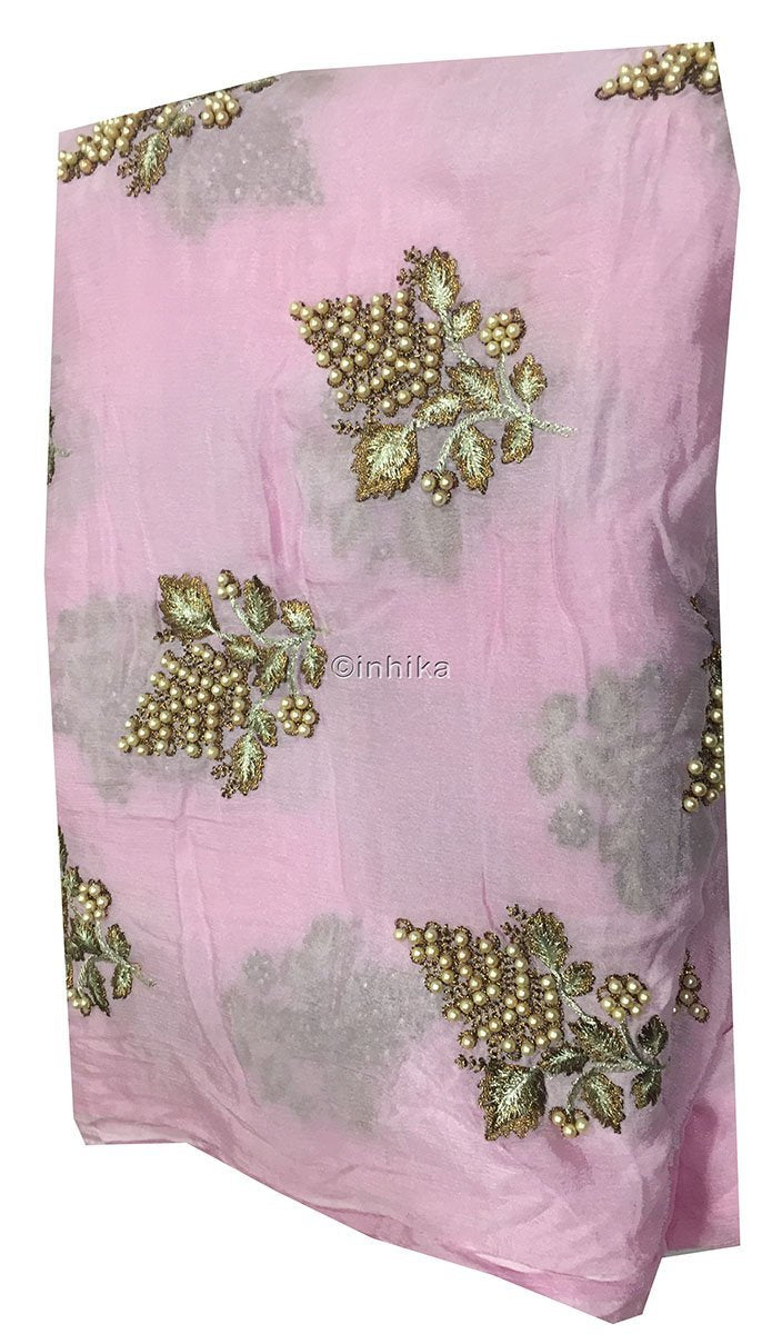 buy blouse fabric online designer blouse material Embroidery Viscose Chinnon Light Pink 44 inches Wide 9211