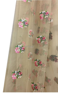 fabric shop online india dress material Embroidery Net, Mesh, Tulle Beige 44 inches Wide 9226