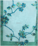 embroidery designs dress material online Embroidery Organza, Tissue Sea Green, Gold, Peacock Blue 41 inches Wide 9198