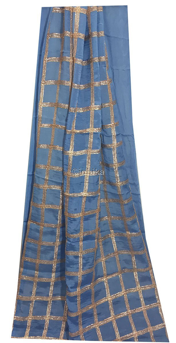 plain fabric online designer fabric india Embroidery Chiffon Cobalt Blue, Copper 43 inches Wide 9190