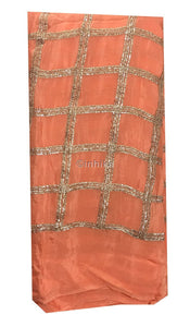 running material online shopping buy running material online india Embroidery Chiffon Peach, Copper 43 inches Wide 9188