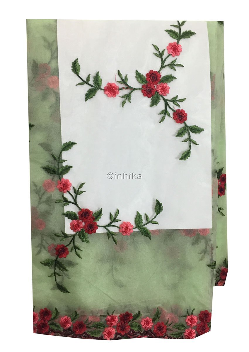 embroidered fabric for dresses buy kurti fabric online Embroidery Organza / Tissue Green, Pink, Red, Maroon 39 inches Wide 9171