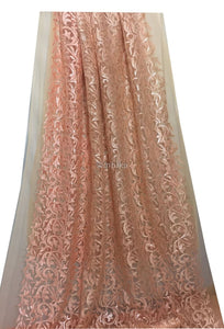 embroidery laces online dress materials online shopping Embroidery, Sequins Net, Mesh, Tulle Peach Orange 44 inches Wide 9213