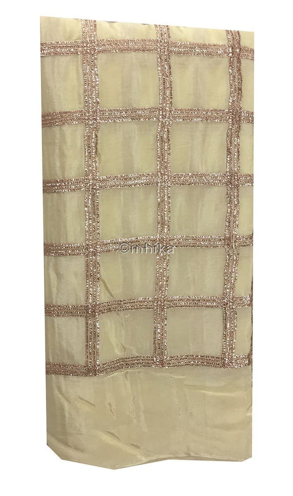 kurti material online shopping cloth material online shopping india Embroidery Chiffon Beige, Copper 43 inches Wide 9189