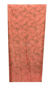 buy embroidery material online india buy fabric material online india Embroidery Chiffon Peach, Gold 42 inches Wide 9197