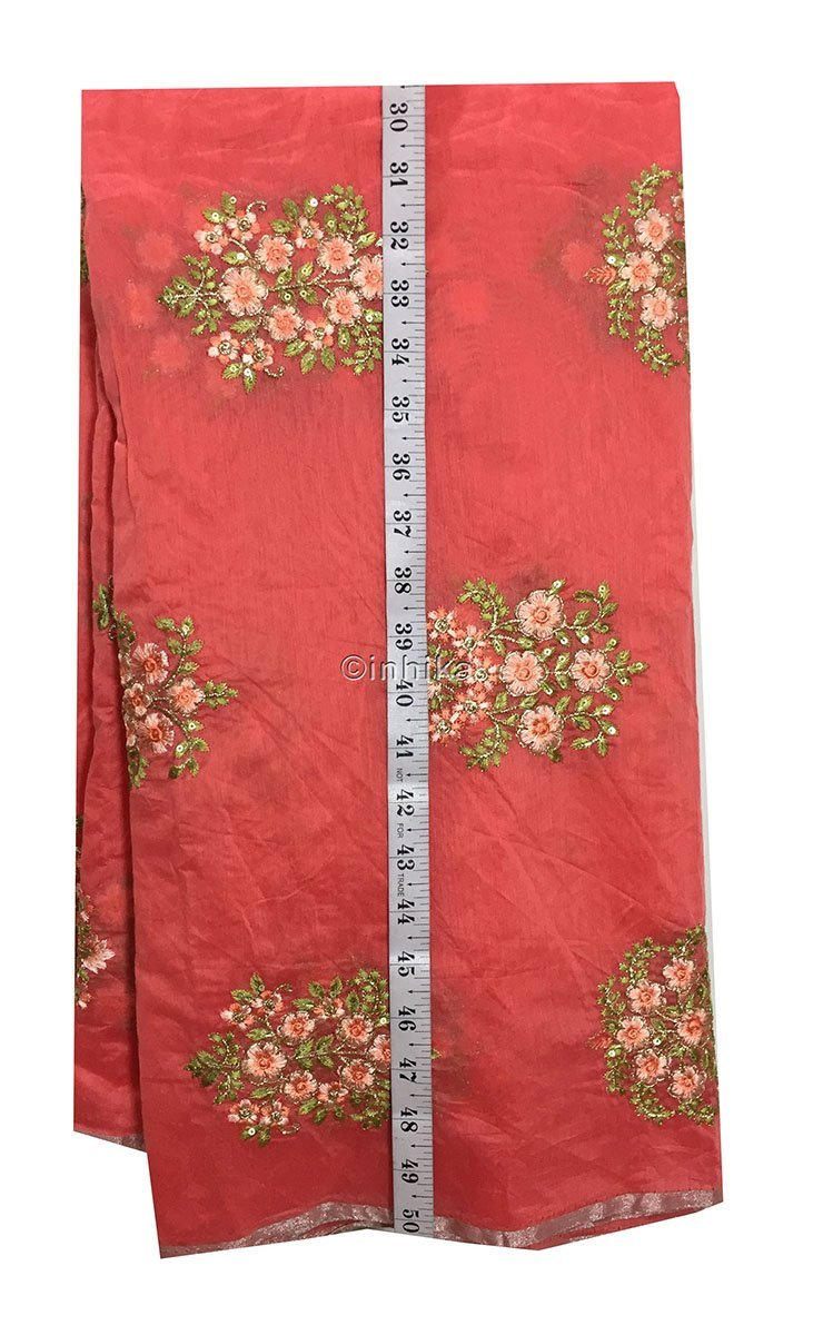 embroidery things online buy material online india Embroidery Chanderi Silk Peach Pink, Green 43 inches Wide 9096