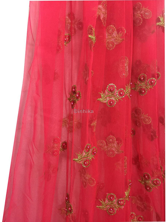 buy embroidered fabric online unstitched blouse material online Embroidery Net, Mesh, Tulle Carrot Pink 44 inches Wide 9230