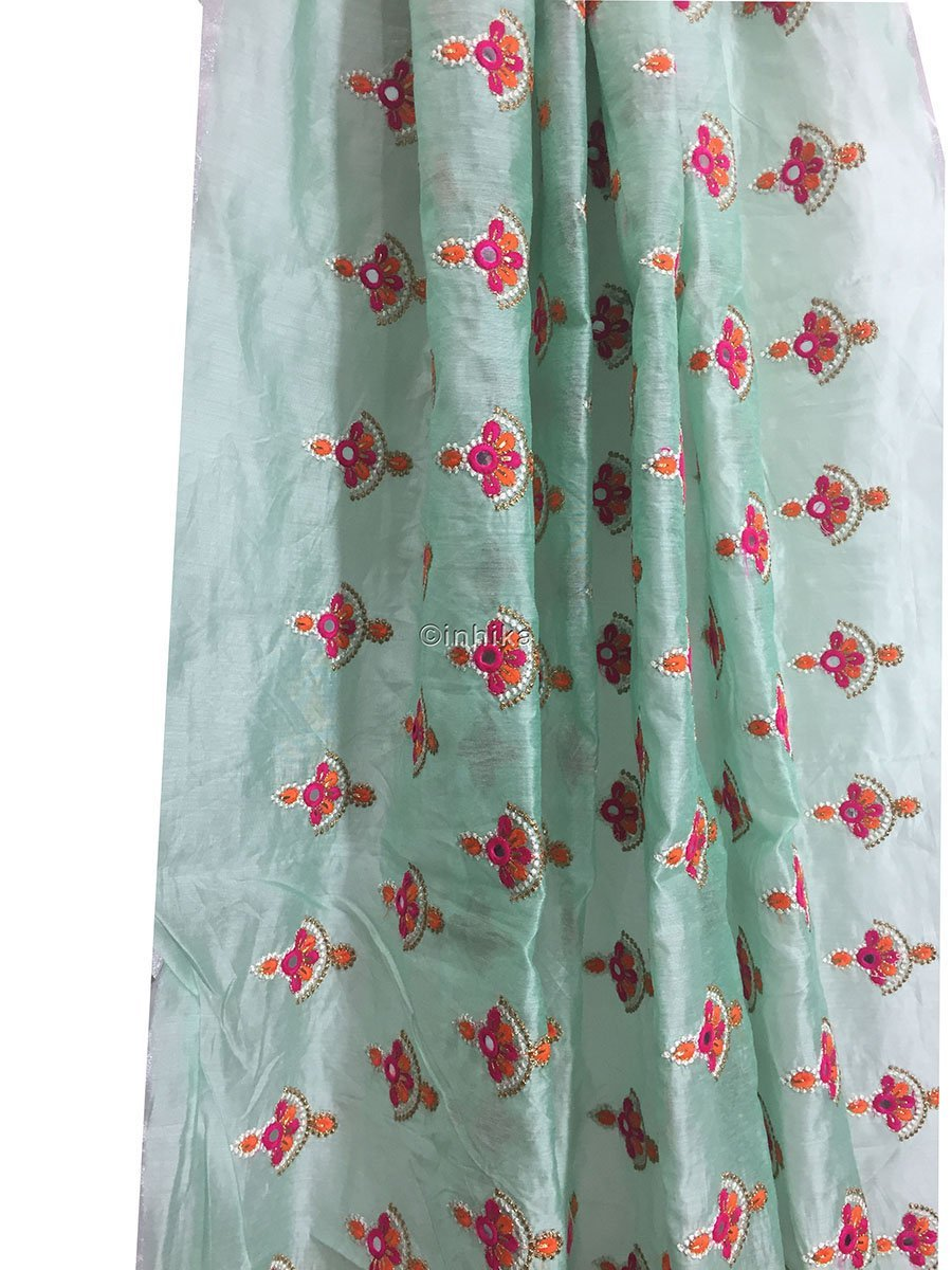 embroidery materials indian beaded fabric buy online Embroidery Cotton Chanderi Light Sea Green, Orange, Pink, White, Gold 42 inches Wide 9182