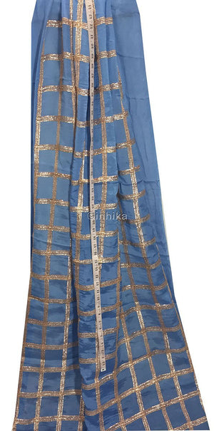 embroidery things online designer fabric india Embroidery Chiffon Cobalt Blue, Copper 43 inches Wide 9190