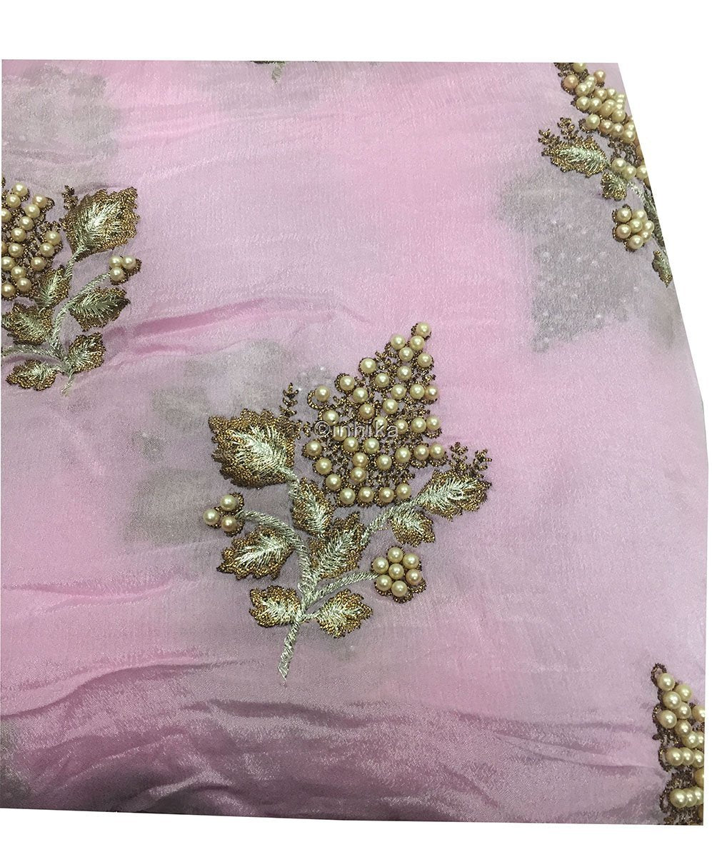 buy designer fabric online india designer blouse material Embroidery Viscose Chinnon Light Pink 44 inches Wide 9211