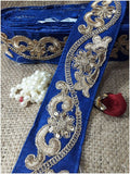lace trim fabric lace material for dressmaking by the yard Royal Blue, Embroidery, Sequins, 3 Inch Wide material Cotton Mix