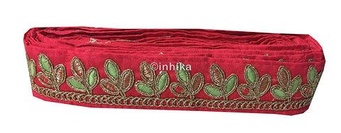 lace trim fabric garment accessories suppliers in mumbai Pink, Embroidery, 2 Inch Wide material Cotton Mix