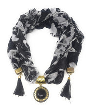 Load image into Gallery viewer, Printed Scarf In Soft Georgette With Designer Pendant At Center