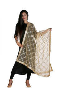 net dupatta golden, gota patti embroidery