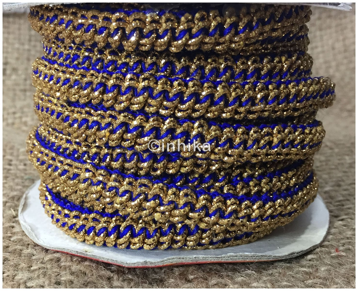 lace trim fabric trims and accessories used in garment industry Blue-Zari-1-Inch-Wide-3224