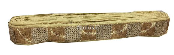 lace trim fabric designer jacquard fabric ribbon trim Gold, Beige, Embroidery, Sequins, 2 Inch Wide material Dupion