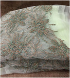 designer embroidered fabric lace cloth material online india Embroidery Net, Mesh, Tulle Light Pista Green, Gold, Silver 45 inches Wide 9094