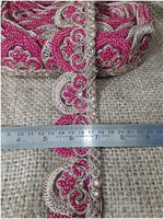lace trim fabric online saree lace border patterns design with price Rani-Pink-Embroidery-2-Inch-Wide-3261