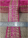 lace trim fabric trims and accessories used in garment industry Rani-Pink-Embroidery-3-Inch-Wide-3290
