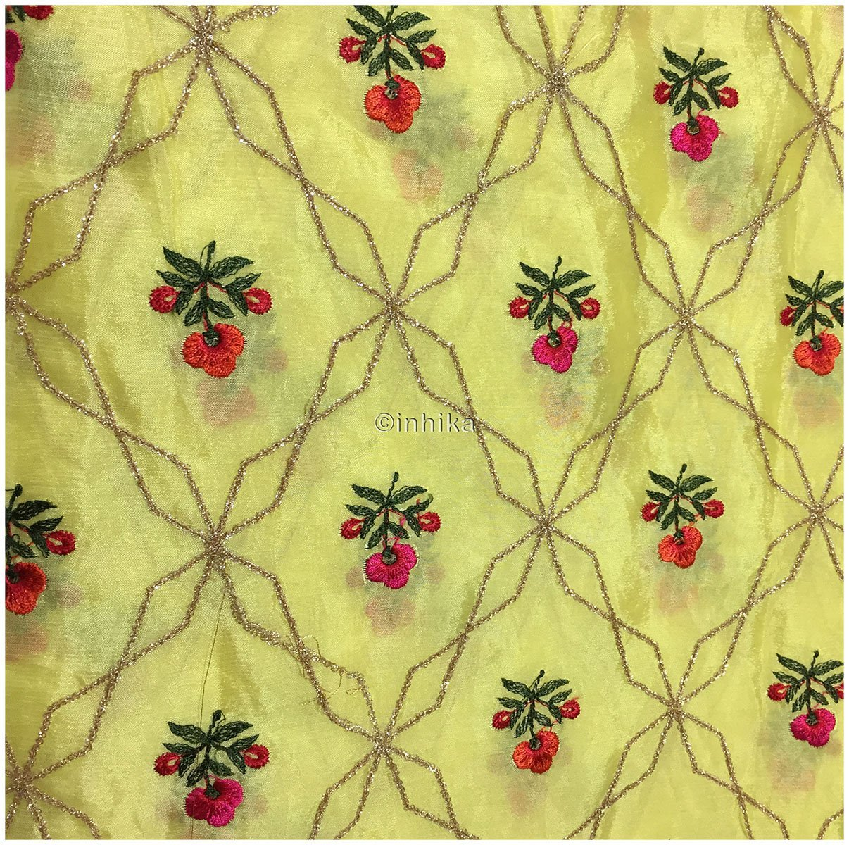6356f9594e ... embroidery cloth white lace fabric online india Embroidery Chiffon  Yellow, Pink, Light Gold, · embroidery blouse ...