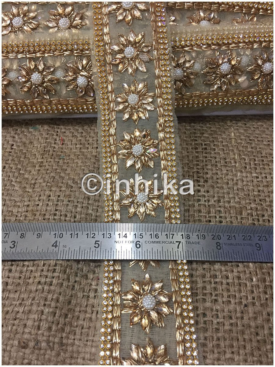 lace trim fabric online saree lace border patterns design with price Beige-Zari-2-Inch-Wide-3236