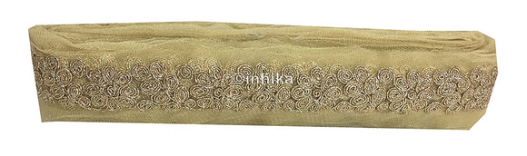 lace trim fabric online saree lace border patterns design with price Dull Gold, Embroidery, 3 Inch Wide material Net, Mesh, Tulle