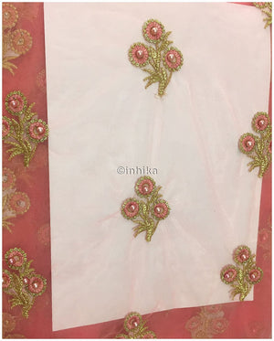 dress material online dress material online Embroidery Net, Mesh, Tulle Pink Peach 44 inches Wide 9228