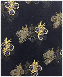 navy blue embroidered material