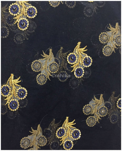 Image of embroidery fabric for sale dress materials online shopping Embroidery Net, Mesh, Tulle Navy Blue 44 inches Wide 9229