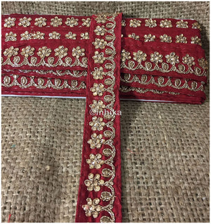 lace trim fabric garment accessories suppliers in mumbai Maroon, Embroidery, Stone, 2 Inch Wide material Cotton Mix