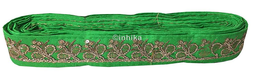 lace trim fabric bridal wedding lace trim by the yard wholesale suppliers Green-Embroidery-Sequins-2-Inch-Wide-3279