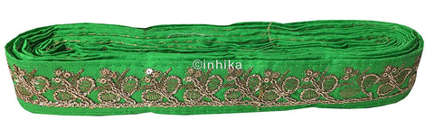 Image of lace trim fabric bridal wedding lace trim by the yard wholesale suppliers Green-Embroidery-Sequins-2-Inch-Wide-3279