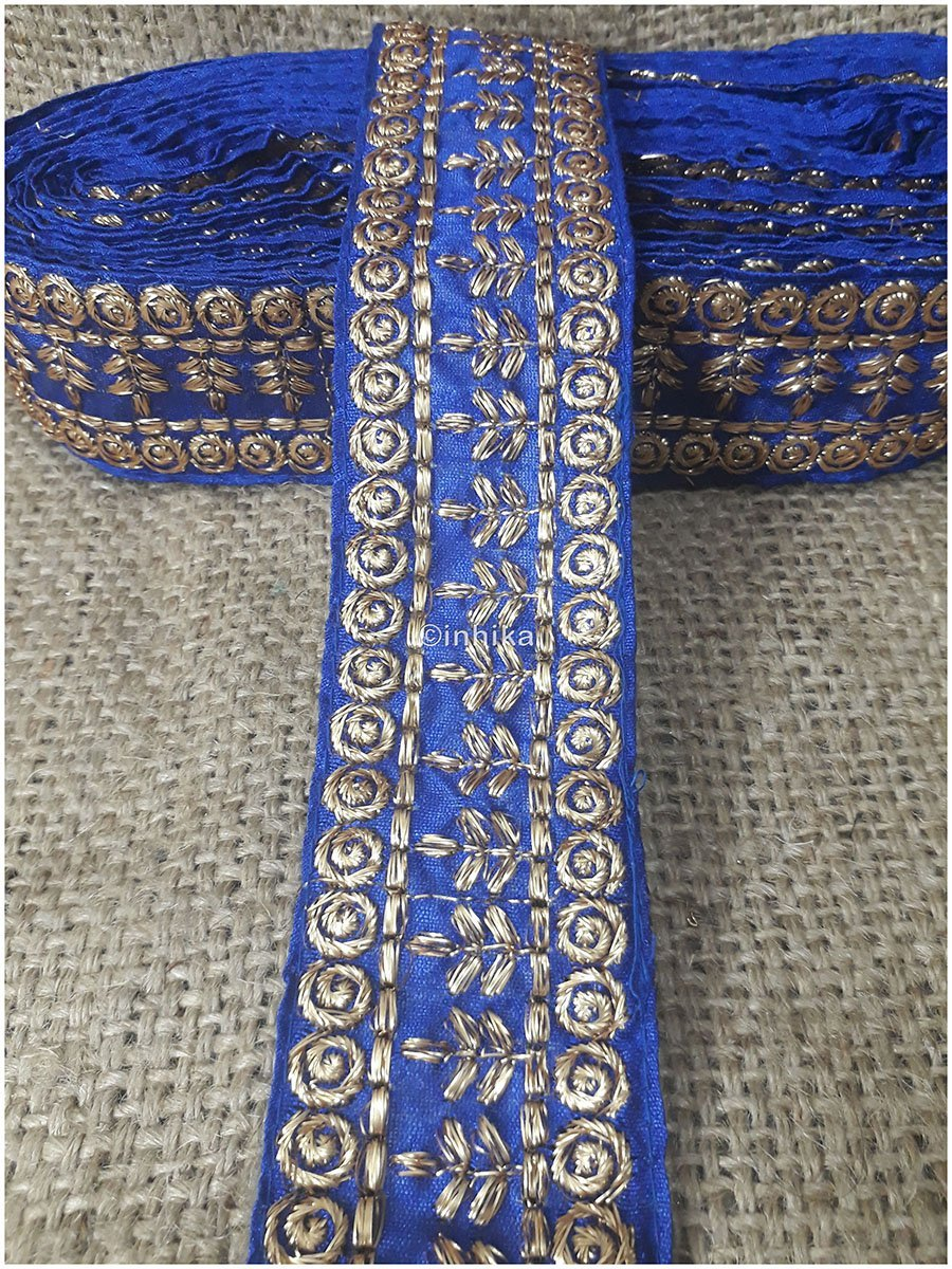 lace trim fabric sewing trims and embellishments for clothing Royal-Blue-Embroidery-3-Inch-Wide-3289
