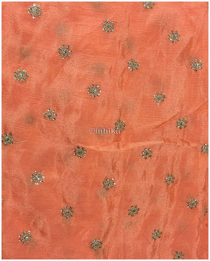 indian dress fabric material running material online shopping india Embroidery Crepe Peach, Silver Sequins 39 inches Wide 9180