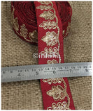 lace trim fabric bridal lace fabric uk wholesale india Maroon, Embroidery, 2 Inch Wide material Cotton Mix, Dupion