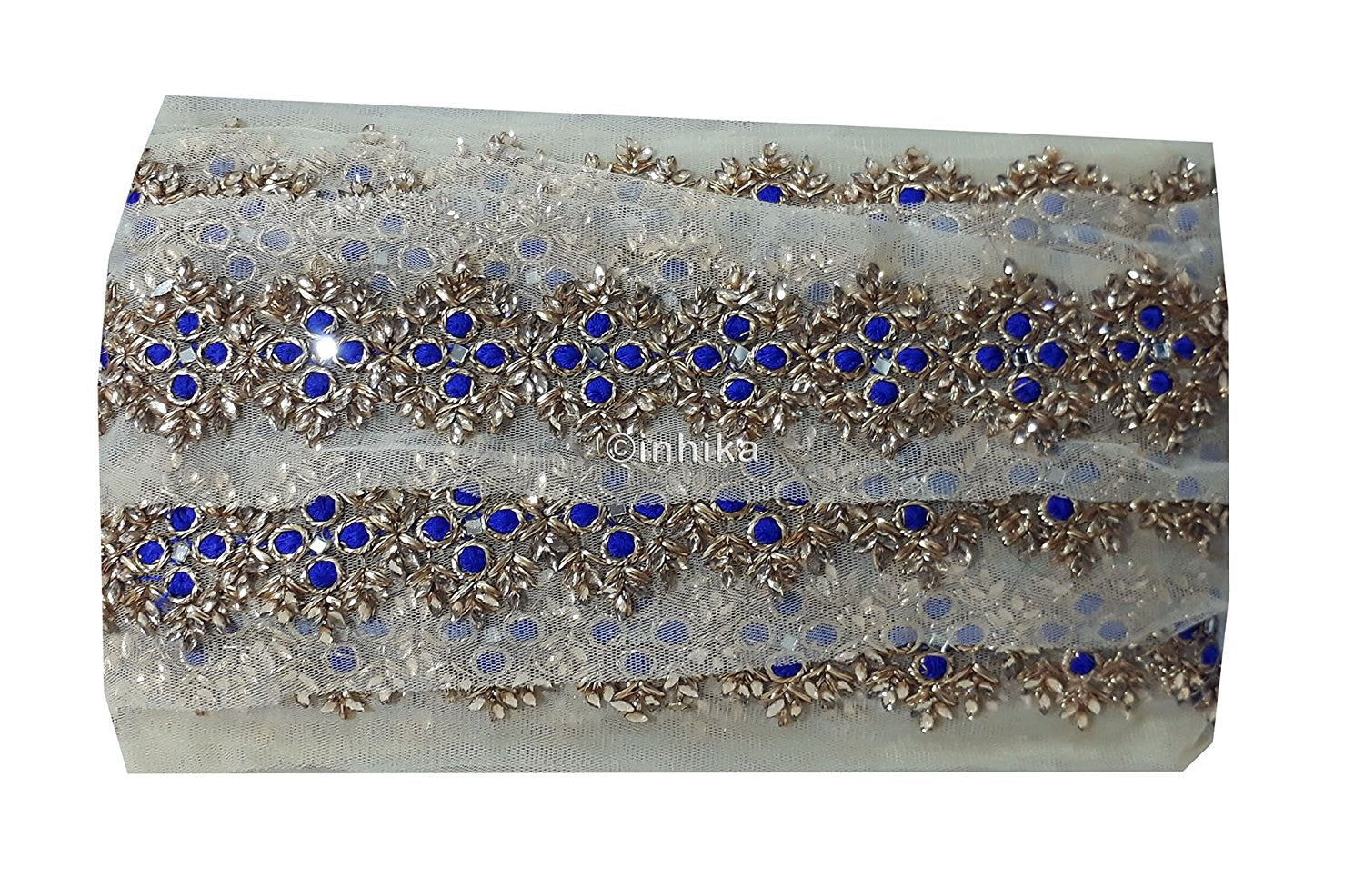 lace trim fabric sequin appliques and trims suppliers Blue, Embroidery, 3 Inch Wide material Net, Mesh, Tulle