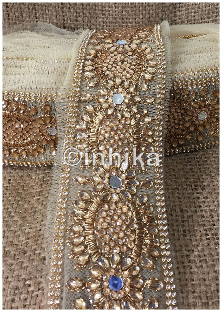 lace trim fabric beaded bridal braid trim by the yard Beige-Stone-Zari-3-Inch-Wide-3243