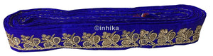 lace trim fabric beaded bridal braid trim by the yard Royal-Blue-Embroidery-Sequins-2-Inch-Wide-3280