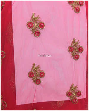 online fabric shopping unstitched blouse material online Embroidery Net, Mesh, Tulle Carrot Pink 44 inches Wide 9230