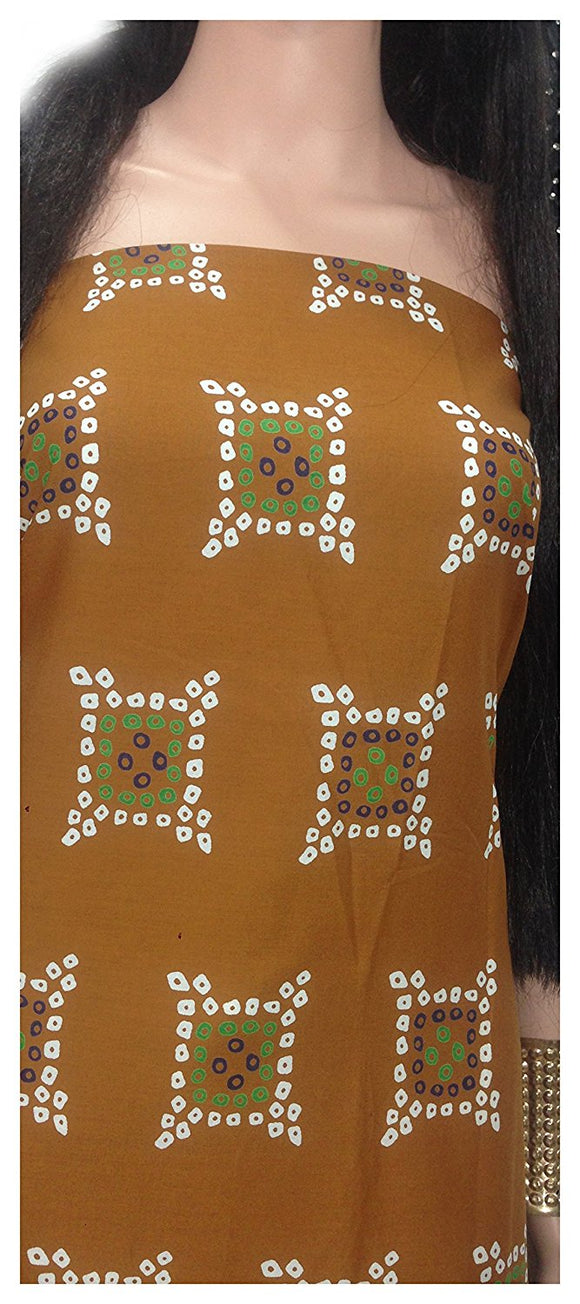 100% pure cotton fabric cloth material cheap wholesale sale supplier mumbai brown bandhni