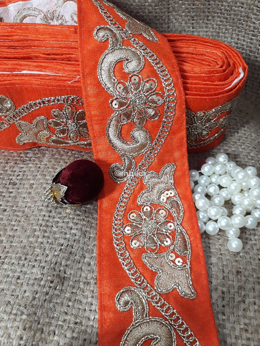 lace trim fabric designer jacquard fabric ribbon trim Orange, Embroidery, Sequins, 3 Inch Wide material Cotton Mix