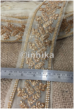 lace trim fabric saree border cheap lace fabric india Beige-Zari-4-Inch-Wide-3241