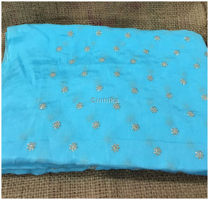 embroidery material online india fabric shop online india Embroidery Crepe Powder Blue, Silver Sequins 39 inches Wide 9176